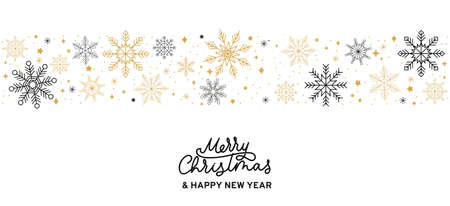 Merry Christmas abstract card with snowflakes and lettering. Winter background with golden and black snowflakes isolated on white background. Vector illustration Banque d'images - 153558352