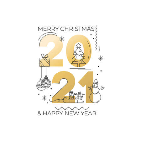 Happy New Year 2021 elegant banner or greeting card template. Golden text with holidays icon isolated on white background. Christmas tree, snowflakes, christmas balls, snowman icon. Vector illustration