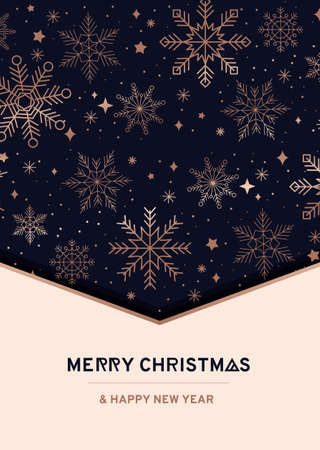 Luxury holiday greeting card design with rose gold linear snowflakes. Xmas elegant background. Merry Christmas and Happy new year festive greeting card. Vector illustration