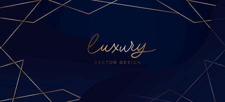 Luxury background with abstract golden lines, blue background. Elegant concept for social networks, banner, invitation, mobile, greeting cards etc. Vector illustration