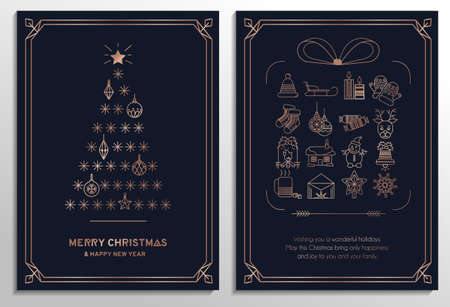 Merry Christmas greeting cards set with rose gold christmas tree, winter icons, navy blue and beige colors. Linear luxury banner, invitation, greeting card. Premium design vector illustration 일러스트