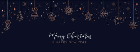 Merry Christmas and Happy new year background with linear icons.Luxury and Elegant concept for social networks, banner, invitation, mobile, greeting cards etc. Vector illustration