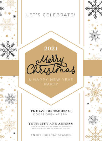 Merry Christmas celebration invitation with flying snowflakes and lettering. Winter holiday design with linear snowflakes in flat style. Vector illustration 일러스트