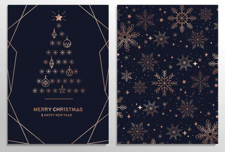Set of elegant Christmas greeting cards with rose gold snowflakes, Christmas tree and navy blue background. Elegant holiday template for greeting cards, invitation, business offers.Vector illustration 일러스트