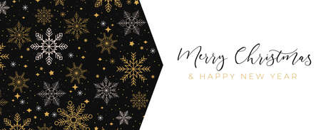 Luxury Christmas background with linear snowflakes. Merry Christmas card. Elegant concept for social networks, banner, invitation, mobile, greeting cards etc. Vector illustration