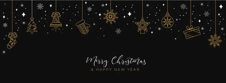 Black and gold Christmas background with linear icons in flat style. Merry Christmas and Happy New year concept. Vector holiday illustration for cards, background, banner, invitation etc