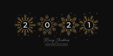 Simple 2021 New Year greeting card with golden snowflakes and black background. Elegant Christmas and New year design for banners, greeting cards, invitations etc. Vector illustration