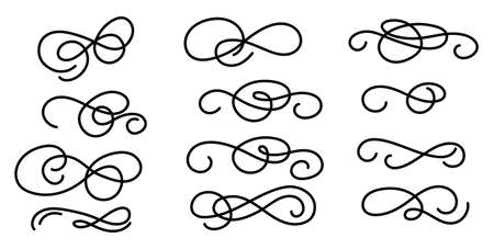 Set of hand drawn elegant flourishes isolated on white background. Vector illustration objects collection for wedding, invitations, posters, decor, menu etc. Vintage swirls, scrolls and swashes.