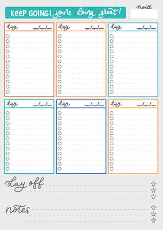 Colorful Weekly planner template with checklists and lettering. Simple printable to do list weekly and daily. Weekly planner checklist. Vector illustration