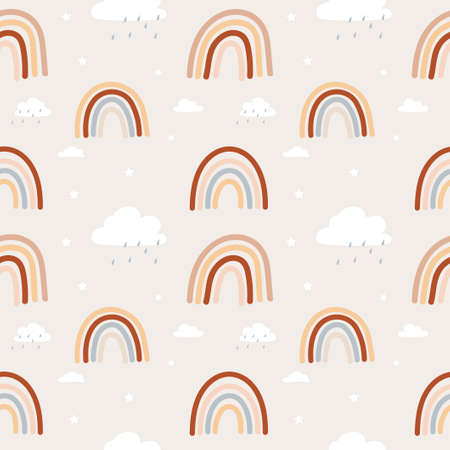 Bohemian style rainbow pattern. Colorful rainbow seamless background for wallpapers, textile, cards etc. Brown, red, beige and neutral colored rainbows with stars and clouds, Vector illustration