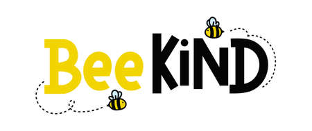 Bee kind funny inspirational card with flying bees and lettering isolated on white background. Colorful quote about kindness with yellow and black colors. Be kind motivational vector illustration Banque d'images - 155264685