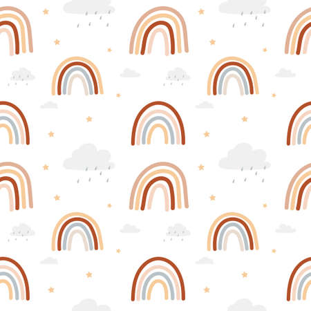 Colorful rainbow seamless pattern in bohemian style with rainbows isolated white background. Brown, red, beige and neutral colored rainbows with stars and clouds, Vector illustration 일러스트