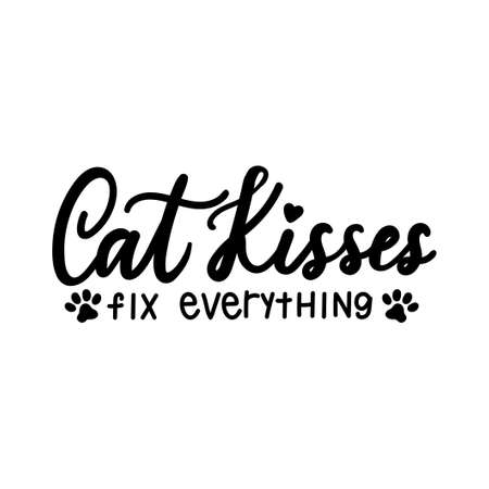 Cat kisses fix everything lettering quote isolated on white background. Pet love quote for print, textile. sticker, mug, card etc. Vector lettering illustration Banque d'images - 155264689