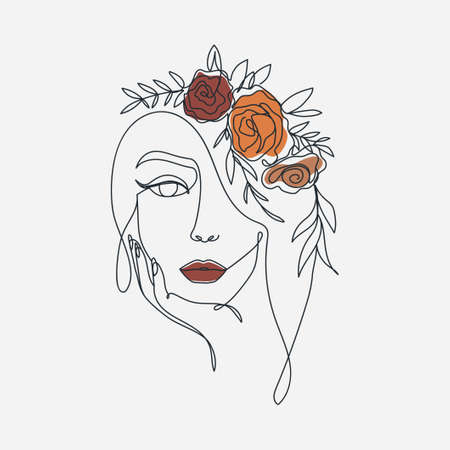 Trendy woman's face in one line art style for fashion prints, posters, cards etc. Continuous art modern design with wreath and flowers.Vector illustration in golden hour colors Vettoriali