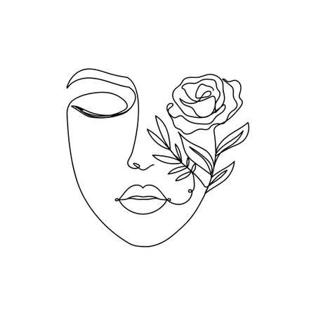Trendy woman's face silhouette in one line art style. Continuous art modern design with closed eyes, lips and flowers on the one part of the face isolated on white background.Vector illustration print