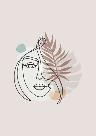 Abstract design with one line art woman's face silhouette, palm leaves and abstract shapes.Continuous line art vector illustration in trendy colors.Elegant minimalistic geometric design with human face
