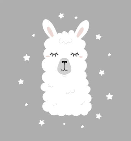 Cute hand drawn llama with closed eyes and stars in scandinavian style. Sweet dreams poster design for nursery, baby shower, card, invitation etc. Alpaca character in flat style vector illustration Vettoriali