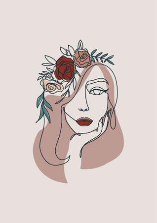 Line art style woman holding her chin with with flowers on her head.Continuous line woman's face silhouette in brown, beige and red colors for cards, posters, prints, textile etc. Vector illustration