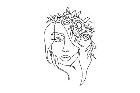 Trendy woman's face fashion illustration in one line art style. Continuous art modern vector illustration with face silhouette and floral wreath on white background. Tattoo, print or fashion concept Vettoriali