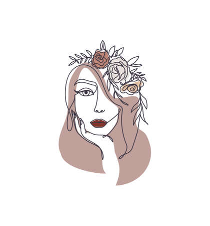 Line art style woman holding her chin with with flowers on her head.Continuous line woman's face silhouette in brown and beige colors for cards, posters, invitations, prints, textile. Vector illustration Vettoriali