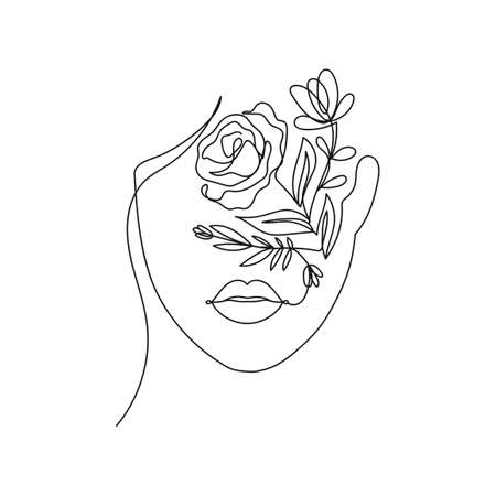 Trendy woman's face silhouette in one line art style for fashion prints, tattoos, posters, cards etc. Continuous art face and flowers design isolated on white background.Vector illustration Vettoriali