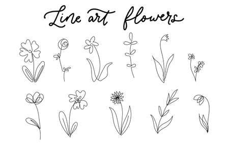 One line art flowers set isolated on white background. Trendy continuous art floral elements collection for prints, tattoos, cards, textile etc. Simple linear flowers vector illustration Vettoriali