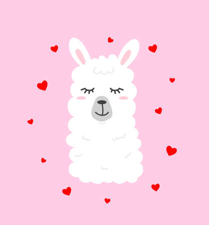 Cute llama illustration on pink background with hearts in cartoon flat style. Alpaca in love vector illustration for prints, textile, greeting cards, posters etc. Vector illustration
