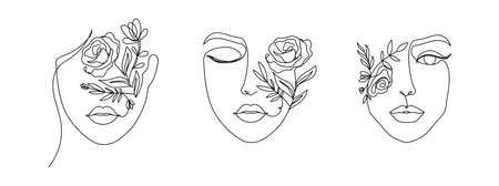 Women's faces in one line art style with flowers and leaves.Continuous line art in elegant style for prints, tattoos, posters, textile, cards etc. Beautiful women face Vector illustration Vettoriali