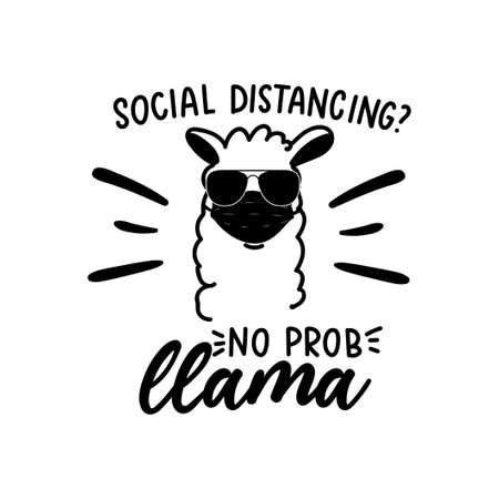 Wear a mask sign with llama.Alpaca wearing a face mask and black sunglasses with lettering inscription
