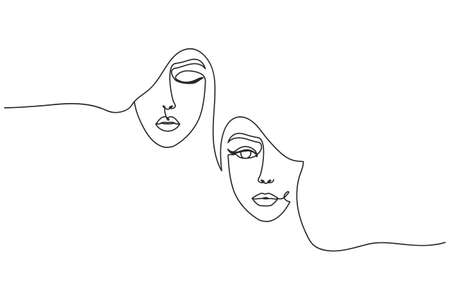 Modern continuous art with women's faces for poster, card, leaflet, print etc. Fashion women one line vector illustration. Friendship, sisterhood or feminism concept where women support women.