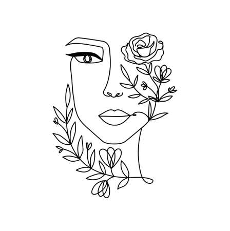 Line art women's portrait silhouette in contemporary abstract style with flowers for cards, prints, logo, fashion etc. Vector illustration in continuous line drawing style. Women face portrait linear