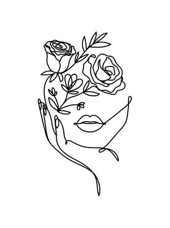 One line vector drawing with abstract face with flowers. Freehand continuous line portrait design. Botanical hand drawn elements for beauty, fashion, cosmetics, prints etc. Vector illustration