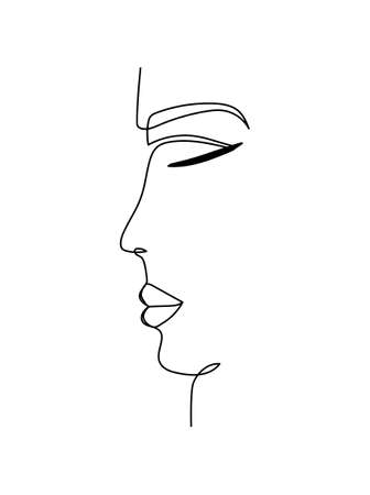 One line art face silhouette design. Abstract face vector illustration in continuous line freehand style.