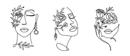 Elegant women's faces in one line art style with flowers.Continuous line art in minimalistic style for prints, tattoos, posters, textile, cards etc. Beautiful female fashion face Vector illustration Vettoriali