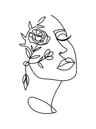 Continuous line art poster with women's portrait and flowers. Fashion vector illustration in line art style