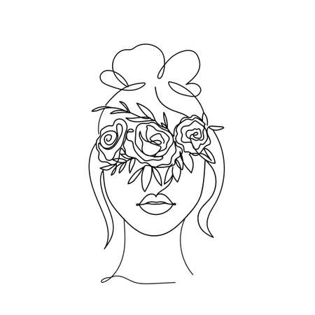 Beautiful woman face silhouette with bun and flowers in line art style. Continuous line vector fashion illustration. Abstract face with flowers for cards, prints, fashion, bridal shower etc.