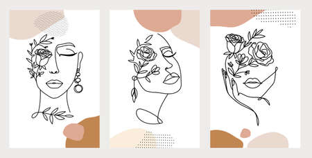 Line art women faces with flowers. Social media cover templates collection for posts, stories or banners. Continuous art portraits with flowers vector illustration.Modern continuous line art fashion.