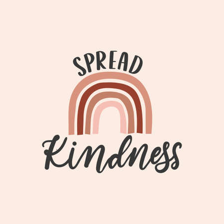 Spread kindness inspirational design with rainbow in bohemian style. Typography kindness concept for prints, textile, cards, baby shower etc. Be kind lettering vector illustration card Illustration