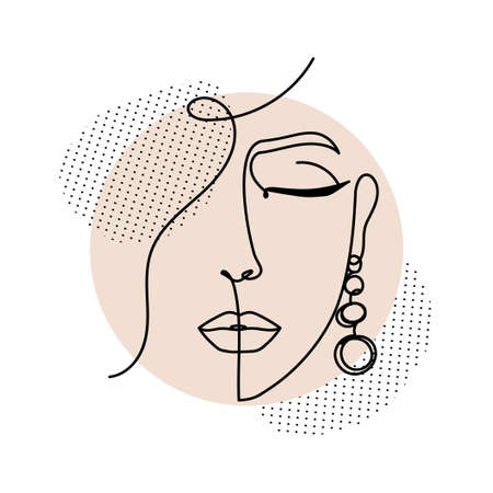 Line art women face with abstract shapes. Continuous art abstract face portrait vector illustration