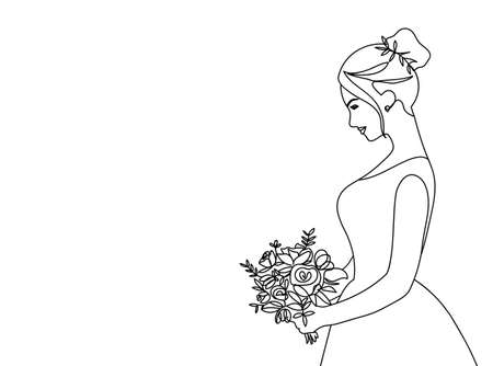 Bride holding a wedding bouquet side view in continuous line art. One line art for wedding invitation, bridal shower, engagement, greeting card, poster or photo album. Vector illustration Vectores