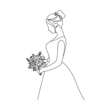 Beautiful bride holding a bouquet in continuous line drawing style. One line bride silhouette side view on white background. continuous line hand drawn vector illustration.