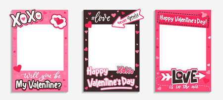Printable Valentine's Day photo frames with pink hearts, xoxo inscription, love hashtag and quotes. Will you be my Valentine template. Happy Valentine's day photo booth prop. Vector illustration 向量圖像