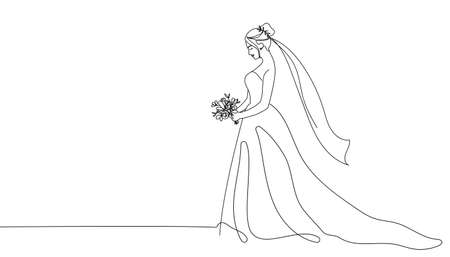 Bride holding a bouquet continuous line drawing.One line bride silhouette side view wearing a wedding dress.Continuous line hand drawn vector illustration for wedding, bridal shower invitation Vectores