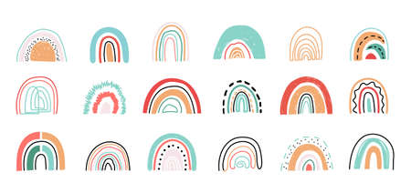 Set of hand drawn abstract rainbows for nursery, prints, cards, textile, invitations, baby shower or Birthday party.Cute rainbow set in bohemian style on white background.Printable Vector illustration