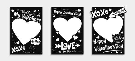 Valentine's Day printable photo booth templates in black and white colors.Will you be my Valentine photo templates backgrounds set.Happy Valentine's day photo booth props set.Vector illustration