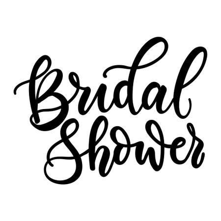 Bridal shower hand drawn inscription for party invitation. Engagement, wedding decor or sign. Vector illustration cute bachelorette party calligraphy invitation, banner, poster or card.Hen party card Vectores