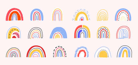 Set of hand drawn abstract rainbows for nursery, prints, cards, party invitations, baby shower, books.Cute rainbow set in different shapes in contemporary art style.Abstract rainbows Vector illustration
