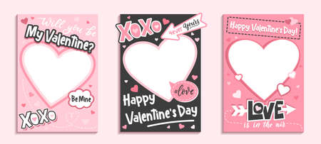 Valentine's Day colorful photo frame and backgrounds with pink hearts and love quotes.Will you be my Valentine printable photo template.Happy Valentine's day photo booth props set.Vector illustration 向量圖像
