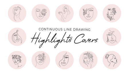 Highlight covers backgrounds set in trendy style. Continuous line art icons with women faces and silhouettes for beauty, fashion, cosmetics, blogging etc. Vector illustration