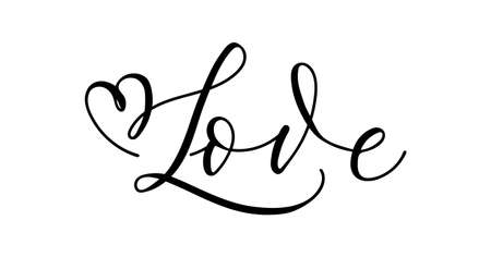 Love inspirational lettering banner with swashes. Modern calligraphy Motivational design template.Hand Drawn brush design for invitations, prints, poster or greeting card. Vector illustration